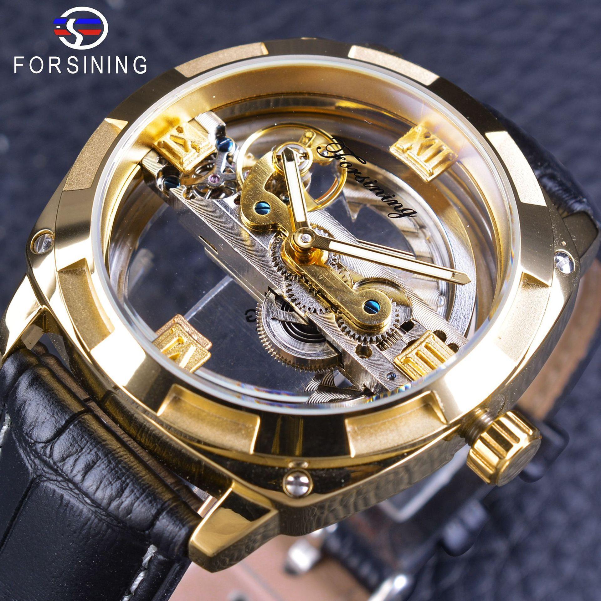 Guarda Forsining orologio da polso impermeabile doppia cinghia vuota completa meccanico automatico della vigilanza degli uomini di