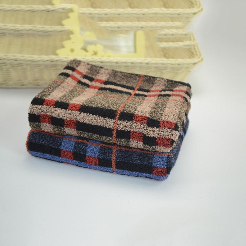 Badetuch 100% Cotton Soft Absorbent Adult Startseite Tuch-Spielraum-Gymnastik-Sport-Handtücher Khaki Plaid-Muster Baumwolle Handtuch Gesicht waschen Handtücher
