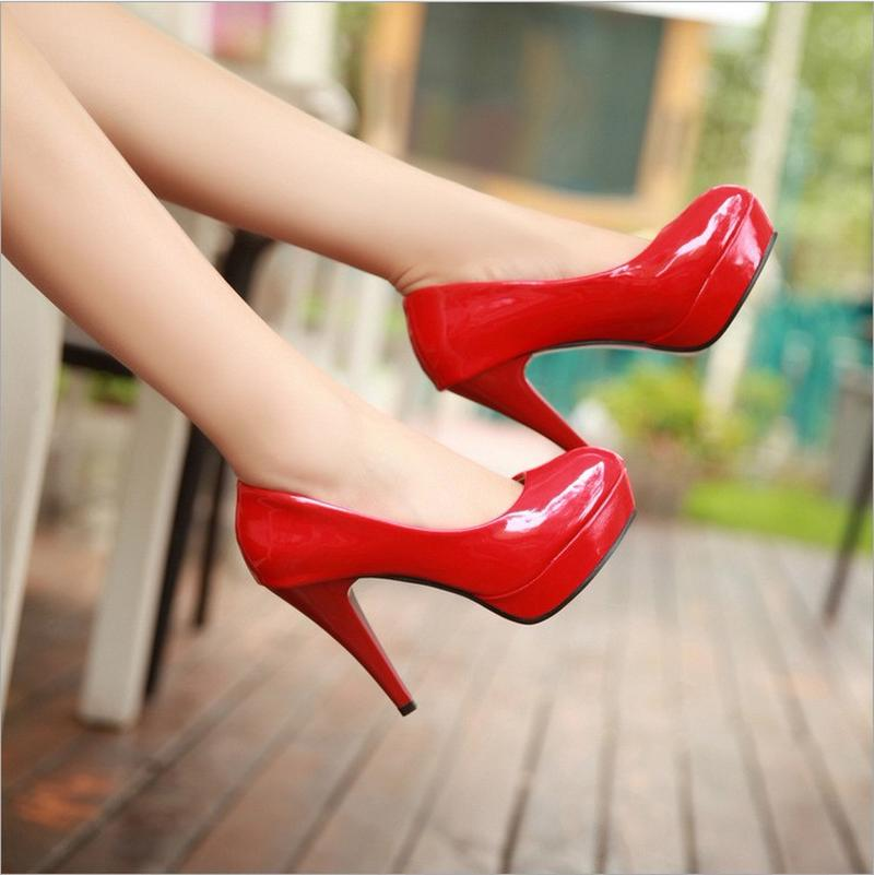 Wholesale women's shoes sexy patent leather dress shoes sponge cake light 11 cm high heels women's plus-size high heels
