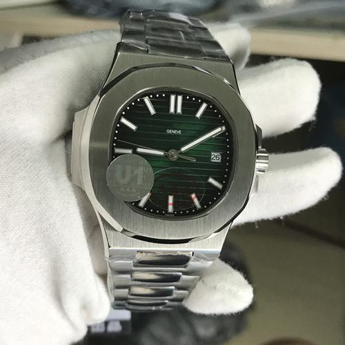 2020 새로운 남성 시계 투명 돌아 가기 U1 공장 운동 새겨진 노틸러스 자동 기계 스테인레스 스틸 손목 시계