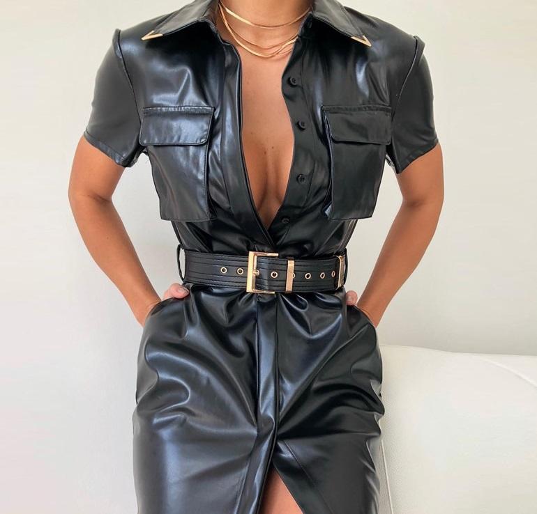 PU-Leder-Kleid-Frauen-Kurzschluss-Hülse dreht unten Kragen-Hemd-Kleid Sexy Belted-Partei-Kleid-Schwarz-Leder Vestidos Mujer
