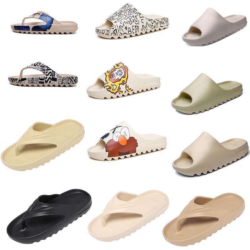 High Quality Foam runner kanye west clog sandals triple black white slides fashion slippers womens mens beach sandals flip flops 35-45