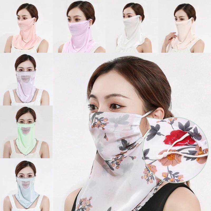 Moda Verão Mulheres Scarf cara Veil Ladies chiffon de seda Máscara Adulto exterior Dustproof Meia cara pára-sol Máscaras Cachecol