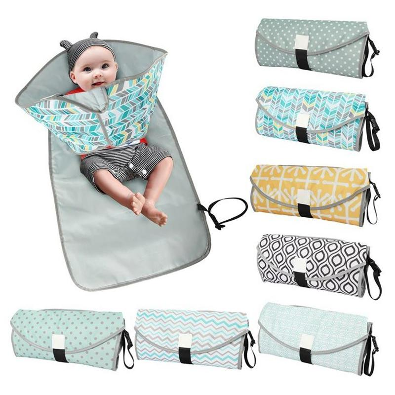 Baby Changing Pads Foldable Infant Baby Urine Mat Waterproof Diaper Cover Mat Mom Travel Nappy Bag 11 Designs DW5553