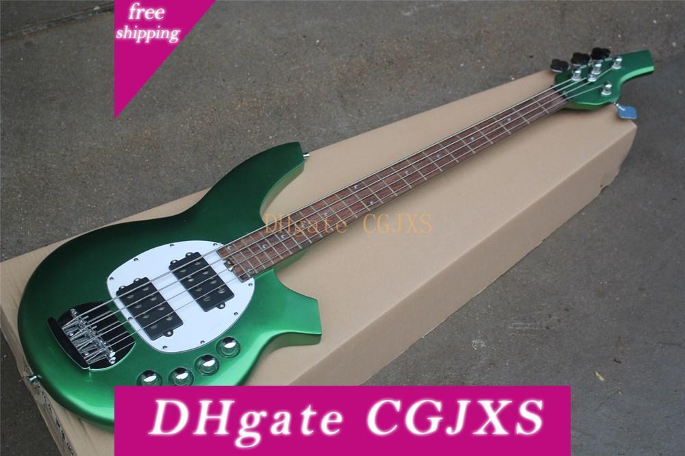 4 Strings Metallic Green Body Active Circuit Electric Bass Guitar With White Pickguard ,Moon Inlay ,Rosewood Fingerboard ,Offer Customize