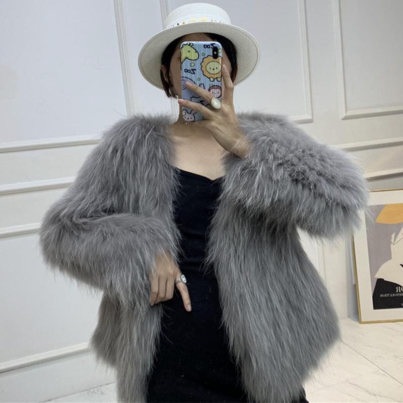 Kadın Kürk Faux Lavelache 2021 Moda Gerçek Ceket Rakun Örme Kış Kadın Ceket Vneck Kalın Sıcak Parka Giyim Streetwear