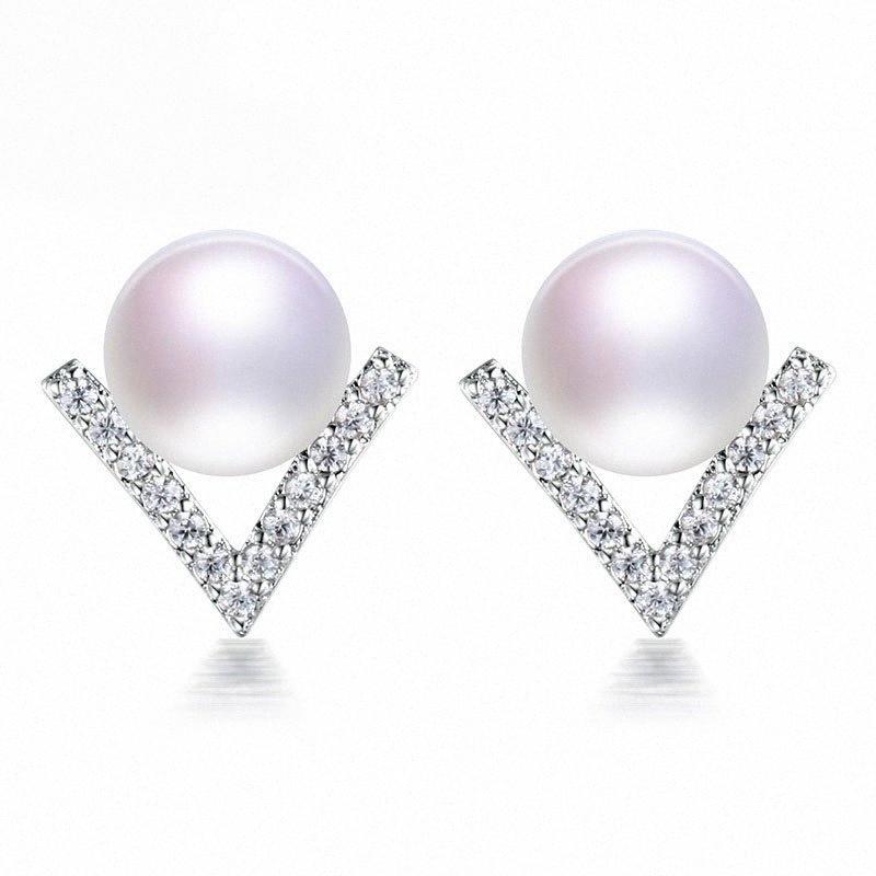 V-forma elegante triangolo Simulazione Pearl geometrica zirconi Orecchini per Women Gioielli Accessori Brincos Gifts zNyd #