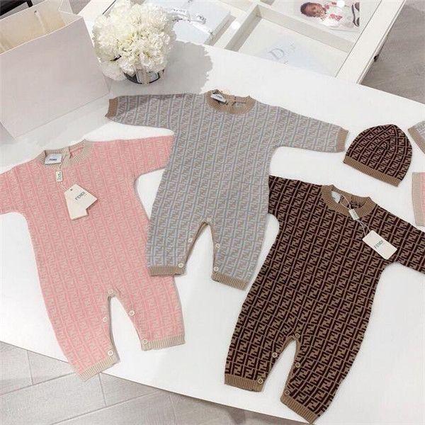 Infante recém-nascido bebê Romper Boy Girl spring Designer Quente Outono Brasão das crianças das crianças manga comprida Knit Romper Macacão Chapéu 2pcs Outfits 0-24M