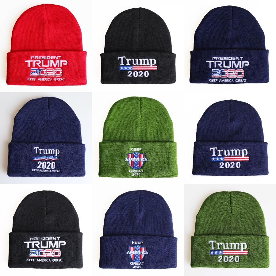 Trump 2020 Hats Knit Winter Skullies Caps Donald Re-Election Beanie Keep America Great Embroidery Usa Flag Cap Casual Beanie Ski Hat B616#952
