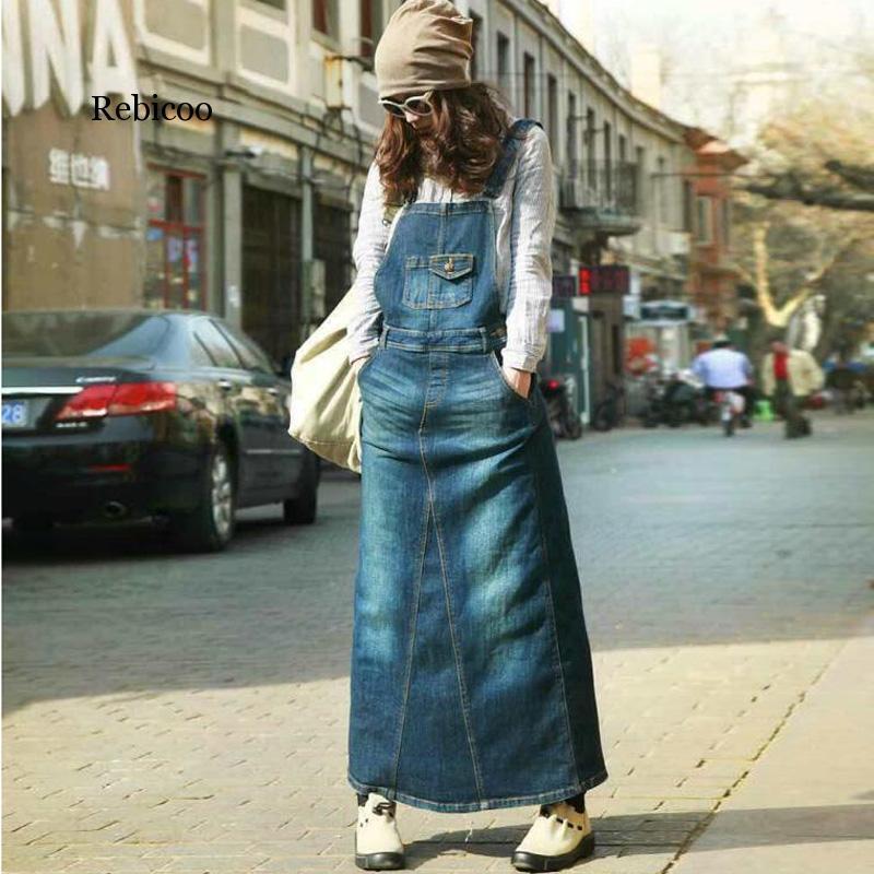 casuale Bohemian blu denim allentato delle nuove donne tuta Harness veste femminile plus size vintage Una linea vestito da cowboy lunga feritoia