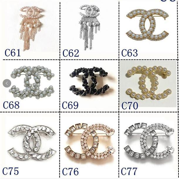 2020 Luxury Designer Lettre exquis Double Broche pour les femmes Déclaration Marque CHANEL rooches Pins Accessoires Bijoux cadeaux