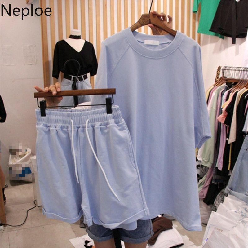 Neploe 2 Adet Set Kadın O Yaka Kısa Kollu T Shirt + Lace Up Stretch Bel Geniş Bacak Şort Yaz 2020 Moda Koreli Suits T200716