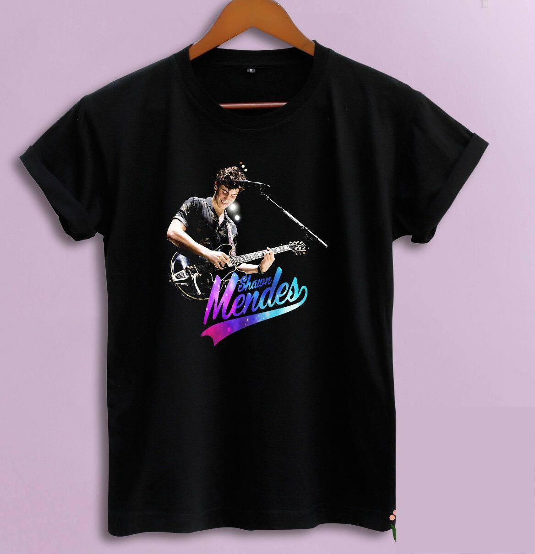 Shawn Mendes Illuminate World Tour Live-Perform New T-Shirt S-5XL Black Cotton O Ansatz mit kurzen Ärmeln Boy Baumwolle Männer T-Shirt