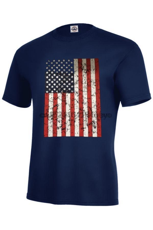 Enorme Distress Usa Flag T-shirt taglie per adulti S-3XL Black Navy Patriotic USA Camicia