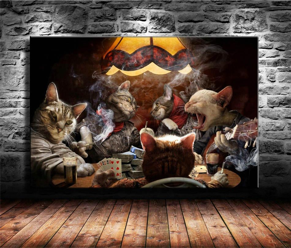 Katzen spielen Poker, HD-Leinwand-Druck neue Hauptdekoration-Kunst-Malerei / (Unframed / Framed)
