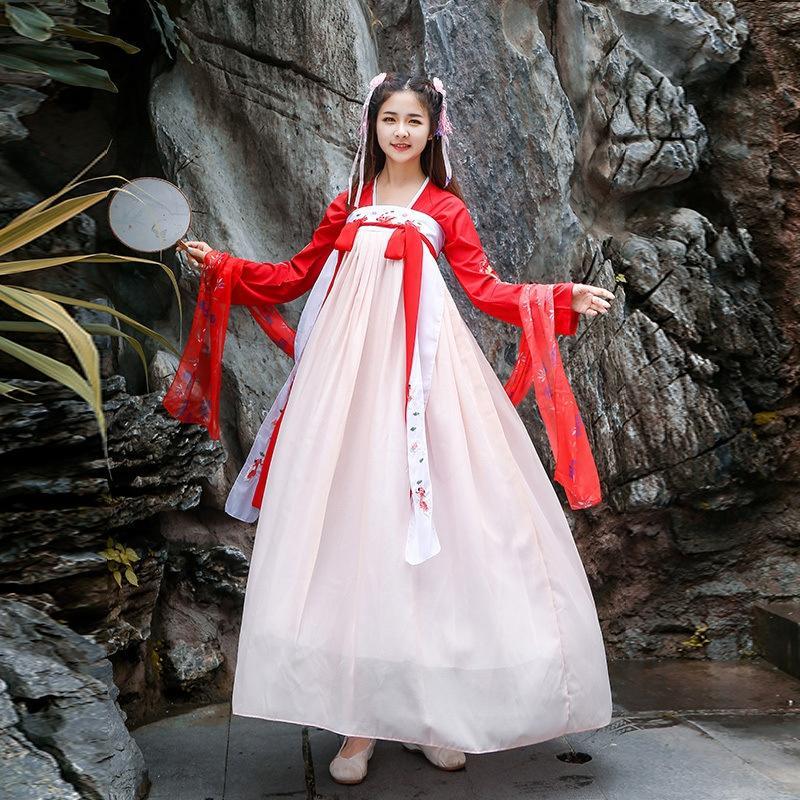 2019 Outono Nova estudante roupa roupa estilo chinês modificado estilo estudante chinês antigo vestido de elemento suor feminino