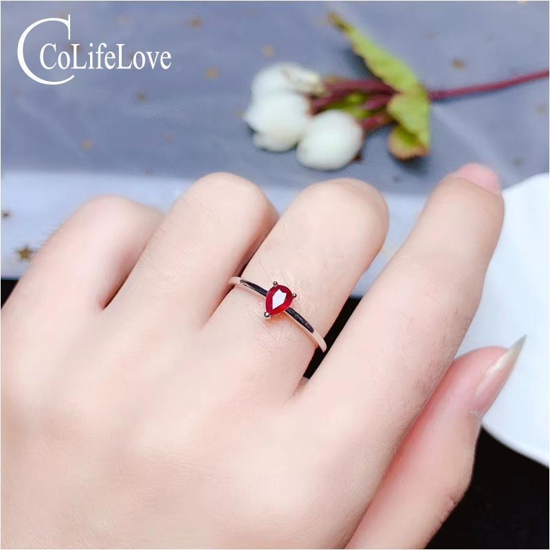 CoLife Jewelry 100% real blood red ruby ring for engagement 3mm*5mm ruby silver ring simple gemstone ring for office woman