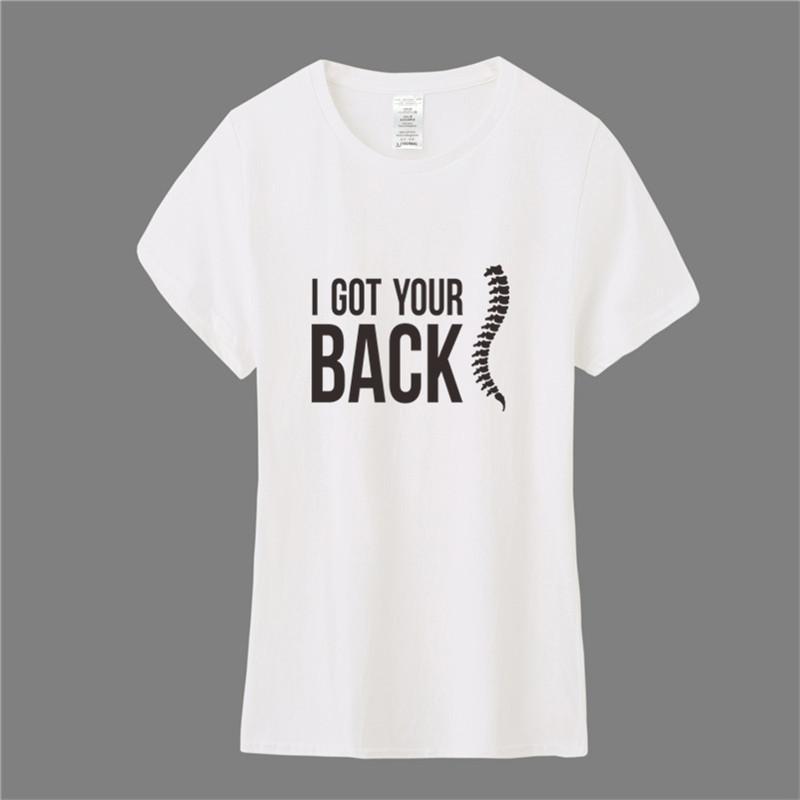 Mulheres Chiropractor T Shirt Verão manga curta Algodão engraçado Massage Eu tenho o seu T-shirt de volta Vestuário Feminino TM-003