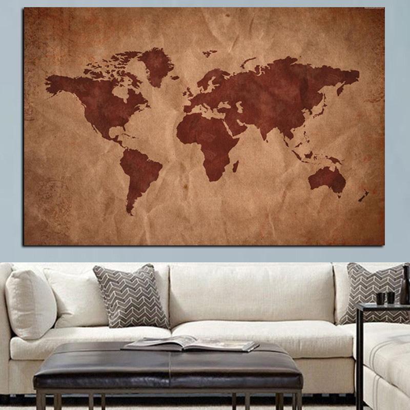 Ofis Toplantı Odası Dekor için Wall Art Resim Boyama Modern Globe Harita Posterler Baskılar Vintage Soyut Wall Art 3D Dünya Haritası Kanvas