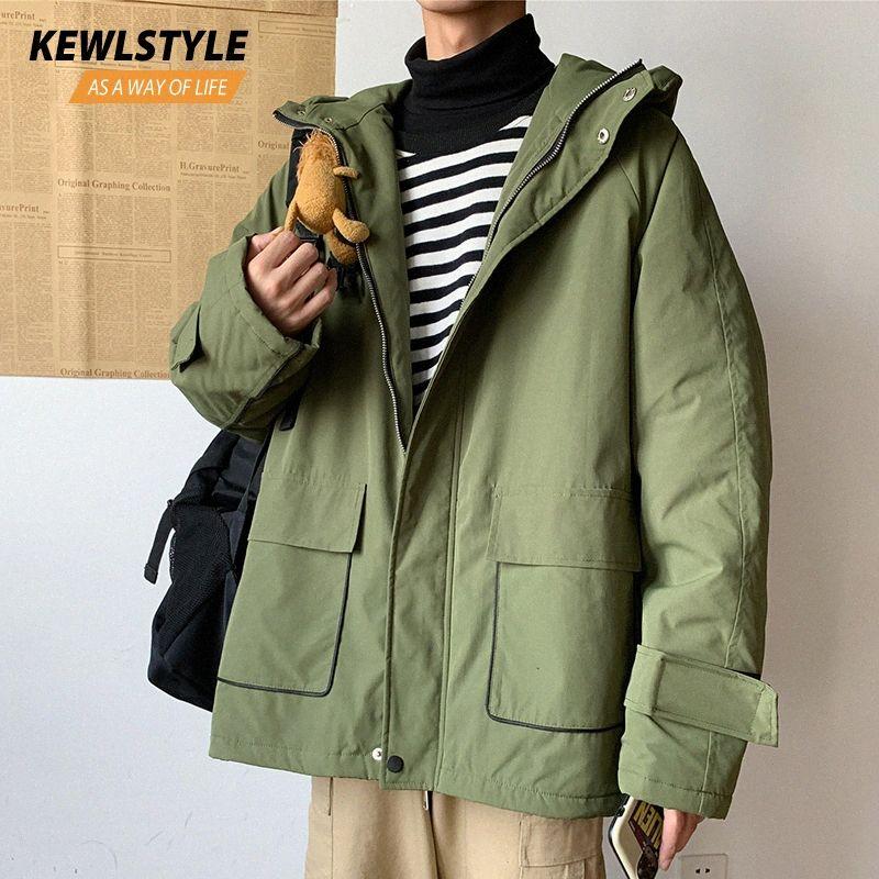 Mens inverno giacche cappotti uomini spessi caldi giacche con cappuccio parka uomini streetwear vestiti neri 2019 trench verde militare outwear PK02 vFxy #