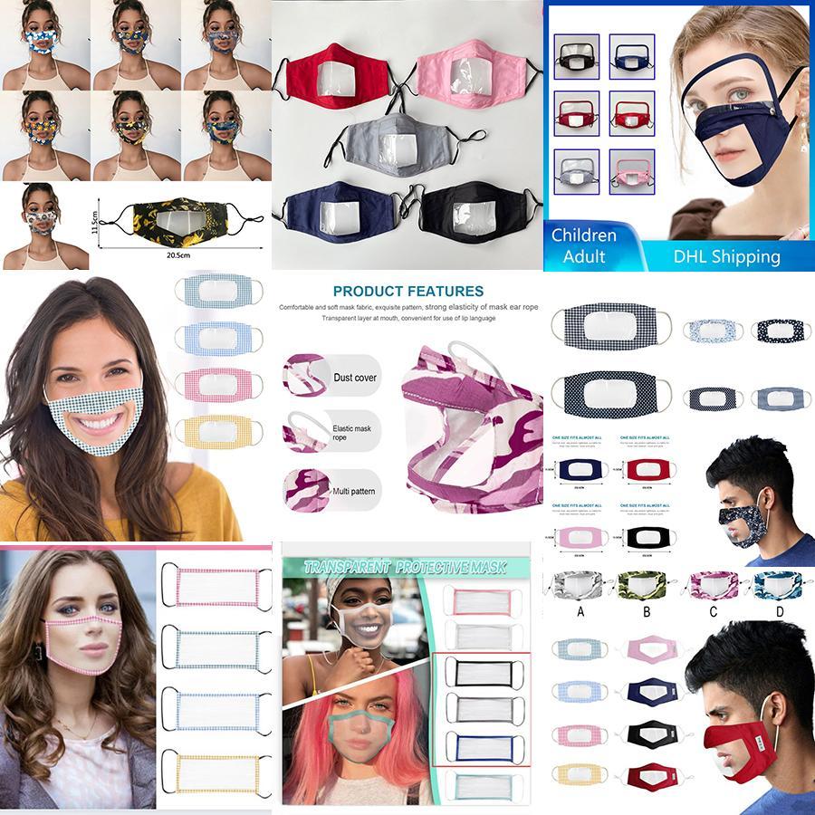 Yeniden kullanılabilir PVC şeffaf maske dudak dil özel XD23763 toz geçirmez Sağır yüz maskesi yetişkin çocuk boyutu