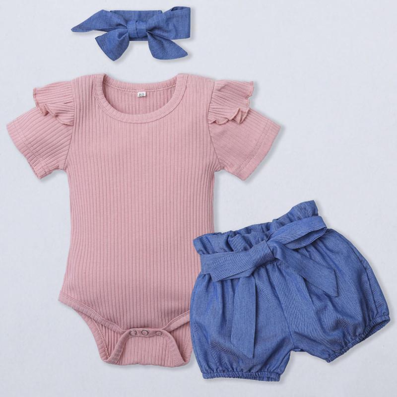 bunvel 0-1T 3PCS Outfits Set-Kind-Kleidung Sommer Stirnband + Hülsen-Rüsche-Strampler + Shorts Kleinkind-Baby-Kind-süße Mädchen-Kleidung