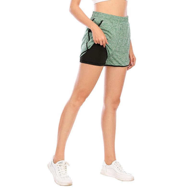 اليوغا تتسابق إمرأة خفيفة الوزن الراحة عارضة طبقات مزدوجة السراويل التجفيف السريع مع جيوب عالية الخصر الجري رياضة السراويل الرياضية
