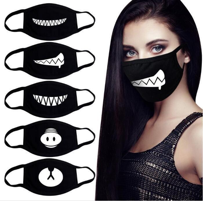 EU Stock engraçados Dentes sorriso bonito Urso Mask Partido criativa Cotton Arrefecer Máscara Viagem face da tampa Homens Mulheres Kpop decorativa Preto Props