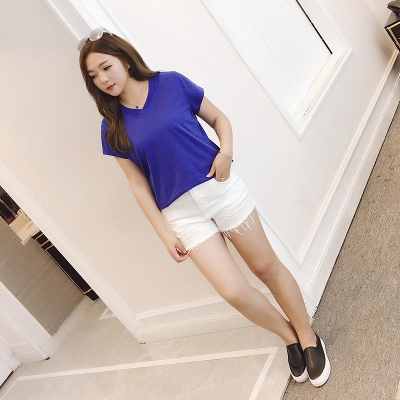 mm2020 nueva ropa de verano 200 jin de las mujeres de gran tamaño y gran adelgazamiento adicional pantalones vaqueros blancos poco de grasa más grasa