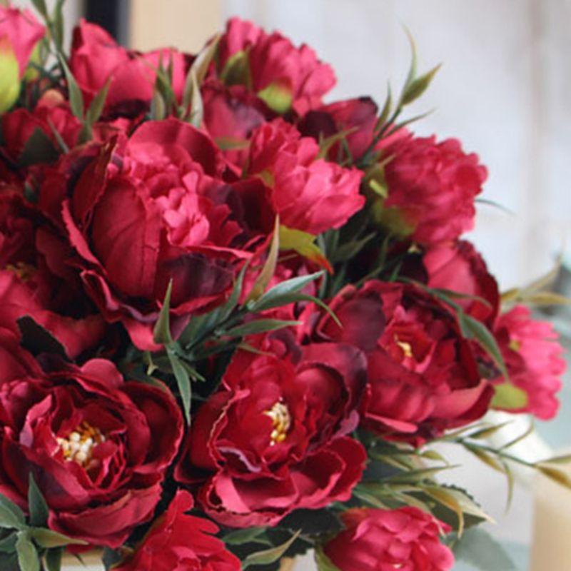 8 Cabeça Peony Artificial Silk Flowers Bouquet Europeia para o partido do casamento da noiva Falso Flores Bouquet Início Jardim Decoração