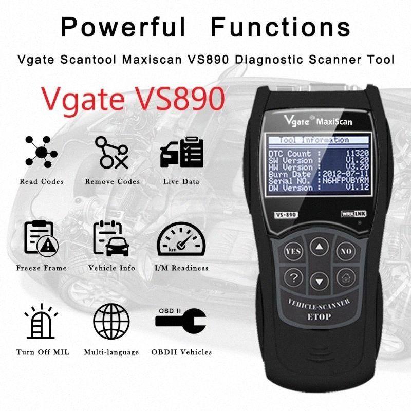 OBD2 Vgate VS890 Auto Diagnostic Tool code OBDII Lecteur VS890 13 Langue PK OBD ELM327 V1.5 AD310 Scanner avec SAE J1979 PHRT #