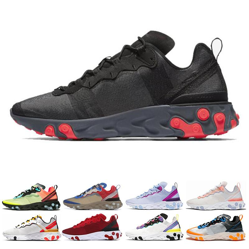 Classic React Element 87 55 men women Running Shoes Tour Yellow triple black white Solar Red sports sneakers shoes size 36-45