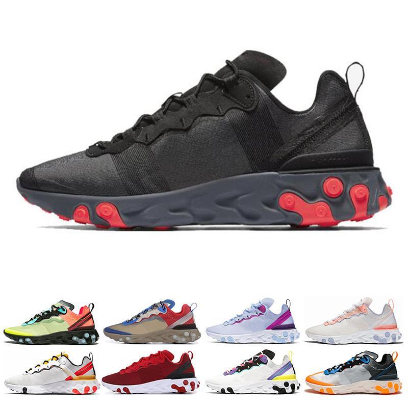 Reaccionar clásico Element 87 55 mujeres de los hombres de los zapatos corrientes tour amarillas triples negros blancos rojos deportivos solar zapatillas de deporte tamaño 36-45