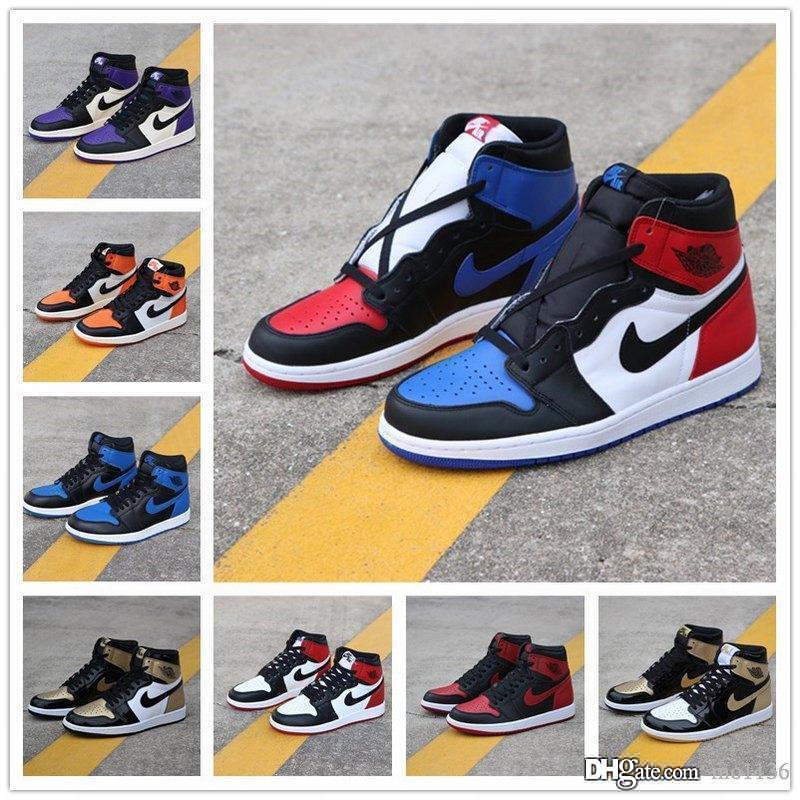 Homens 1 tênis de basquete Banido Bred Preto Toe Top 3 Chicago Preto Toe Atletismo sapatilha 1s Shoes Formadores Mens Basketball