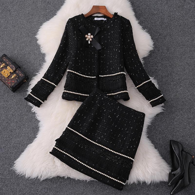 2020 Caída Ronda de manga larga Cuello Negro Plaid Tweed con cuentas chaqueta + con paneles de Mini falda corta de dos piezas 2 Piezas MQ3050430