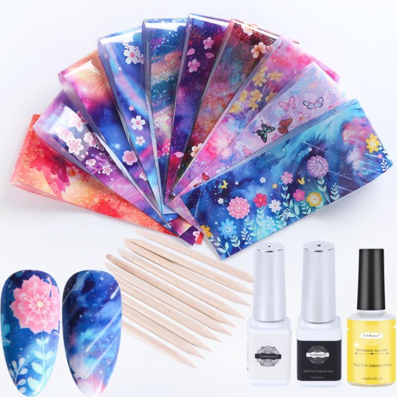 10pcs Nails Foil Set stellata Sliders Fiore per il trasferimento della stella bollino olografico fiore di arte del chiodo manicure della decorazione LEXK123-1