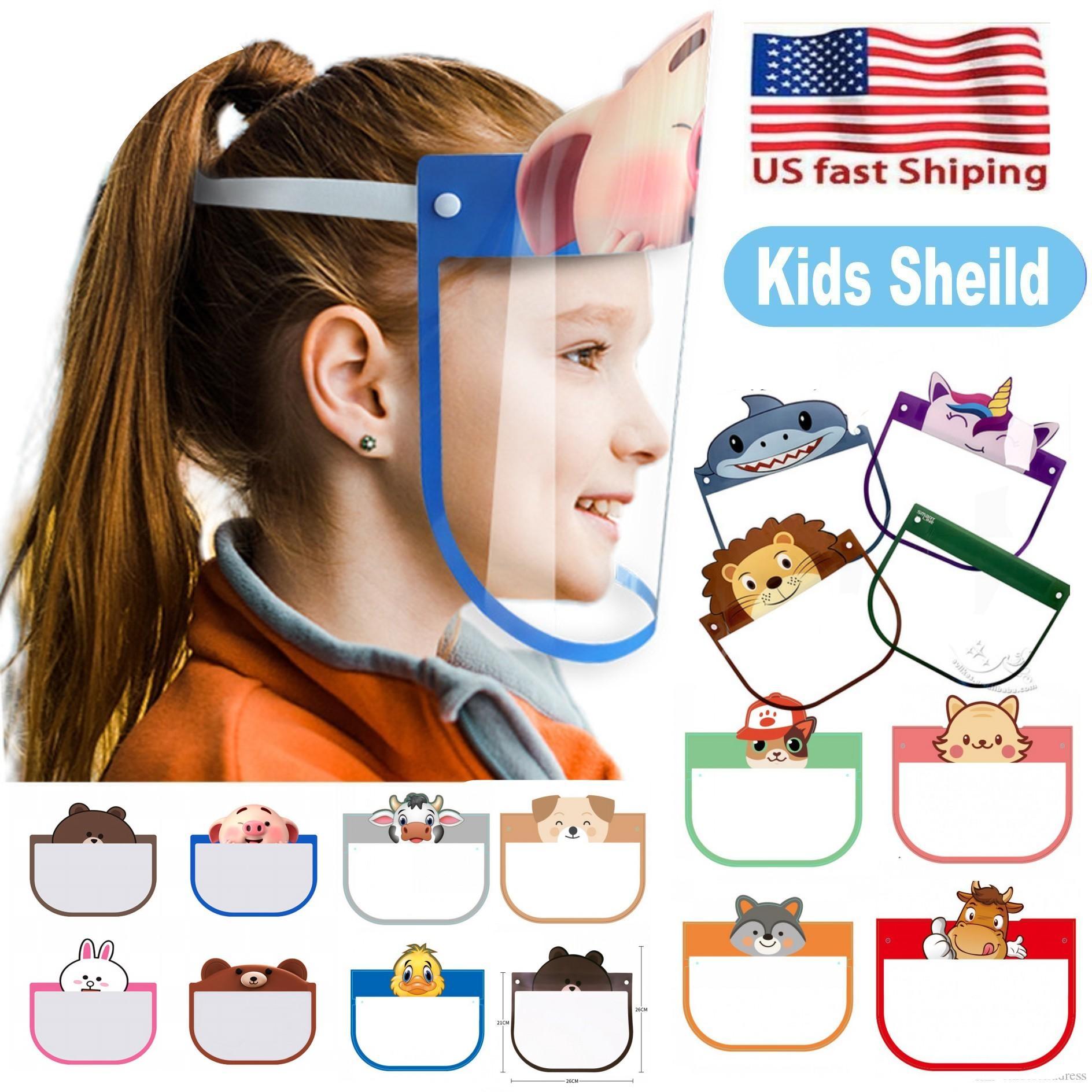 Anti-Fog Tam Yüz Kalkanı Karşıtı Toz Windproof PET Maskesi FY8037 toz geçirmez Güzel 10 PC'ler Kid Karikatür Yüz Kalkanı Şeffaf Koruyucu Maskeler
