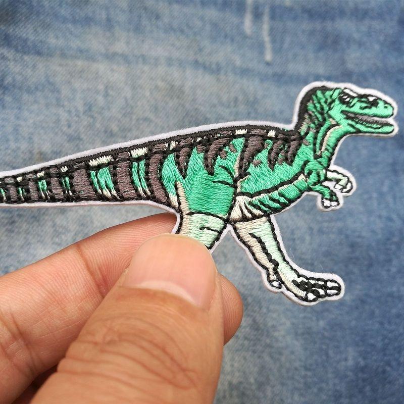 30 PIC 10.2 * 5.3CM işlemeli bez bölüm nakış butik DIY dinozor giyim dekoratif yama bez