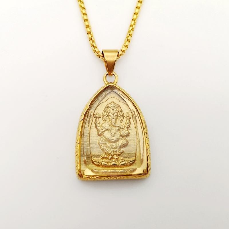 Oro Colore Acciaio inossidabile Ganesha collana pendente in vetro di copertura Buddha elefante Ganesha Dio collana uomini donne regalo gioielli