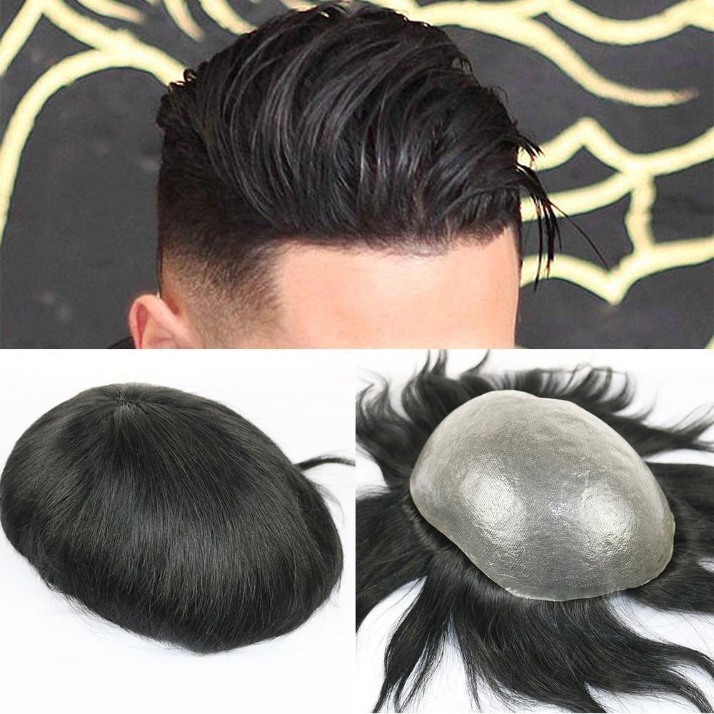 Полный PU Мужчины свисающий Прочный 0.06-0.08mm кожи естественный вид волос Remy Мужчины парик человеческих волос полный PU REPLACEMENTS свисающий