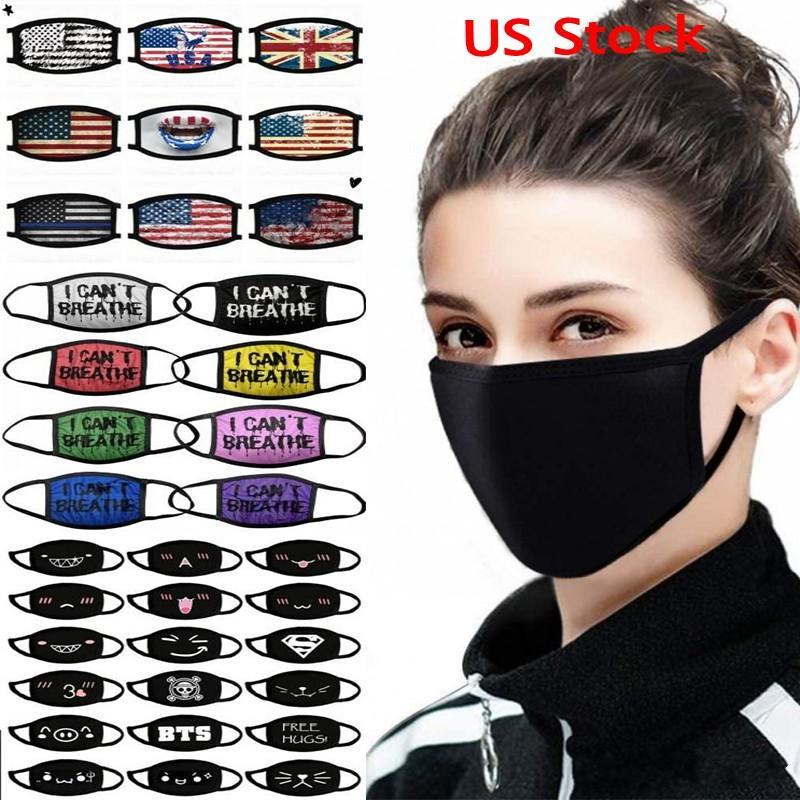 Calcio regolabile anti polvere maschera di protezione della bocca di cotone Black Mask Mask muffola per il riciclaggio di campeggio 100% maschere di cotone riutilizzabili di stoffa lavabile