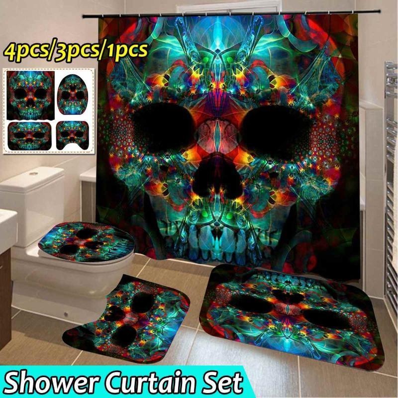 Stampa Skull modello impermeabile Shower Curtain Set bagno antisdrucciolevole stuoia della toletta Copertura Tappeti Mat decorazione domestica della fibra di poliestere