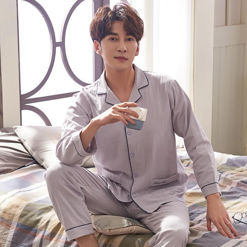 Yaz pijama erkekler dokuma sonbahar ev pamuk düz renk uzun kollu hırka saf giysiler erkek pijama ve sonbahar ZQ70Y set