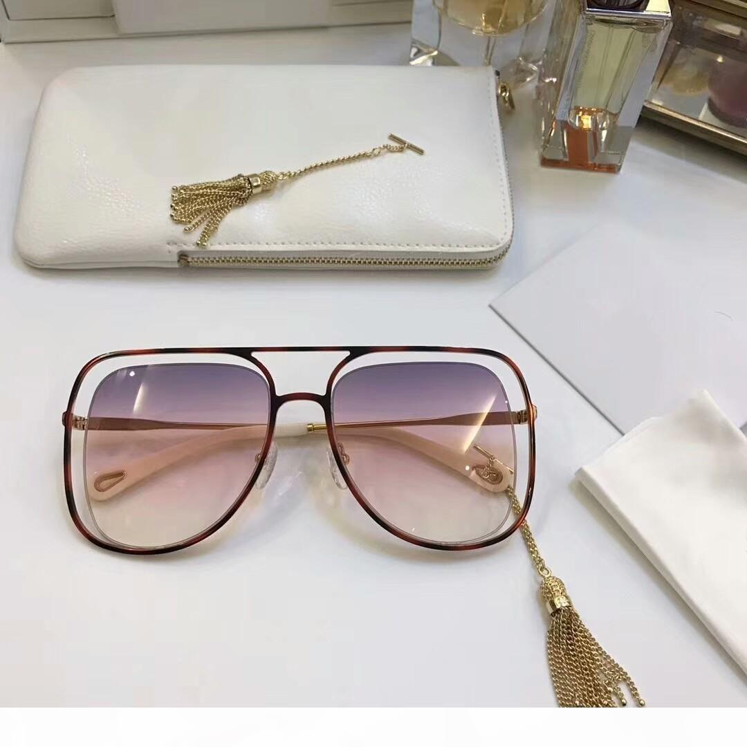 Marke Designer-Sonnenbrillen für Frauen Avantgarde speziellen Design-Stil Platz Rahmen mit Hohlkettendekoration Top-Qualität Sonnegläsern CE130