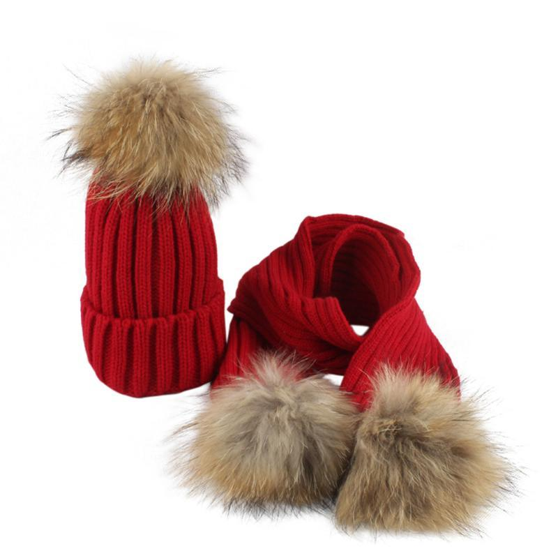 LONSANT Newborn Baby Girls Boys Hat Winter Warm kids Baby hats Knitted Beanie Hair ball Toddler Girls Boys Caps+Scarf Drop Ship