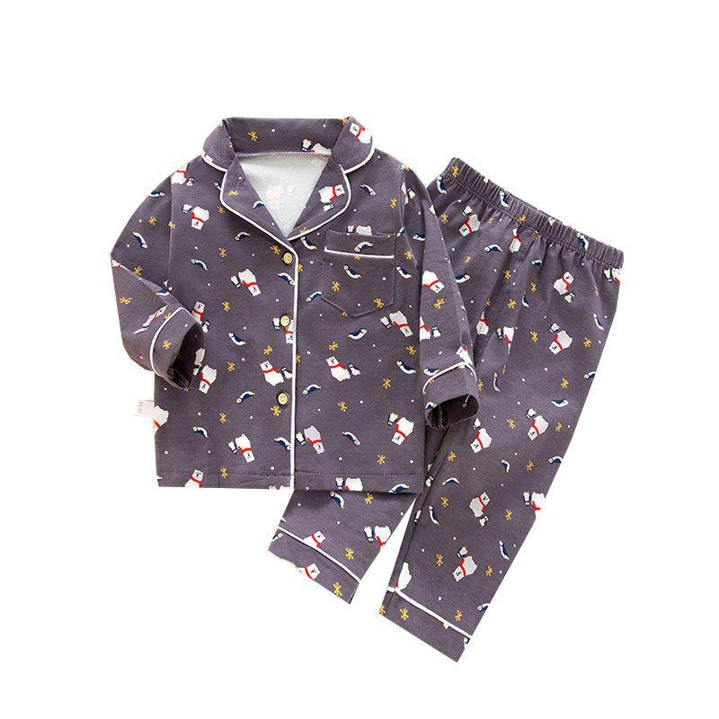 SAILEROAD Cartoon Polar Bear Pajamas For Boys Children's Long Sleeve Pajamas Set Kids Animal Printed Pijama Infantil Sleepwear CX200717