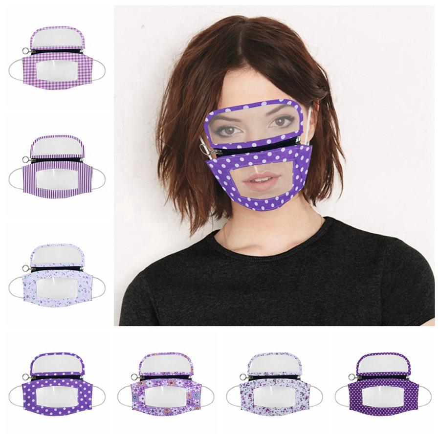2 en 1 lèvres transparent Masque visage avec des yeux Bouclier visible amovible de protection anti-poussière Visage Bouclier PET sourds-muets Masques Designer RRA3344