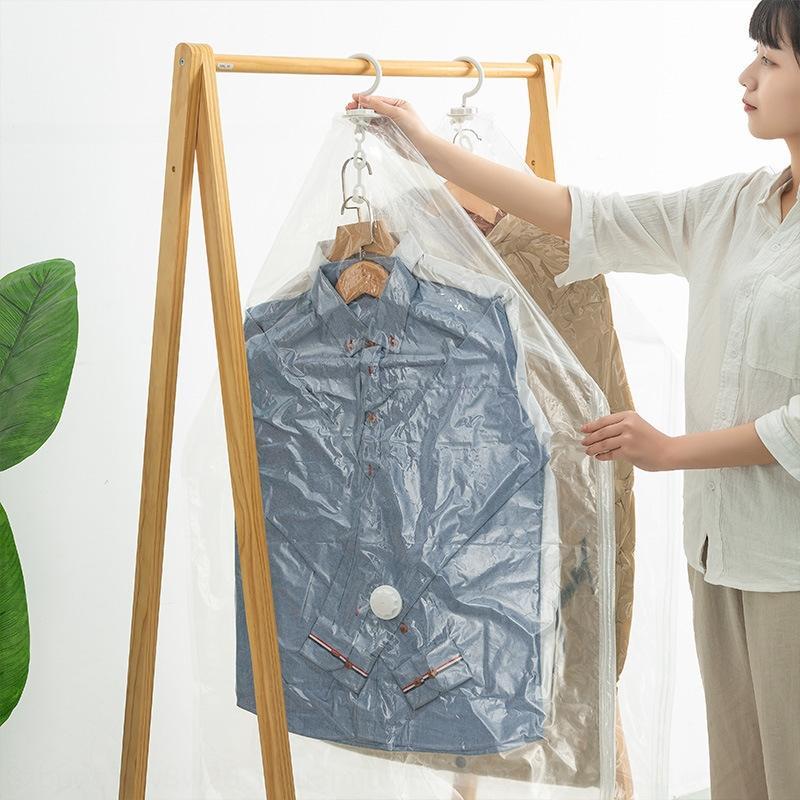 Novas vácuo de compressão pendurar roupas transparentes bomba prático saco de mão de compressão de armazenamento de armazenamento saco de bomba elétrica Jianghu