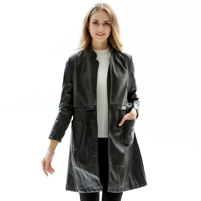Otoño más el tamaño de la PU de la capa y la chaqueta de las mujeres clásico delgado del collar del soporte de las señoras Negro Bolsillos larga Chaquetas Moto del motorista del estilo Outwear