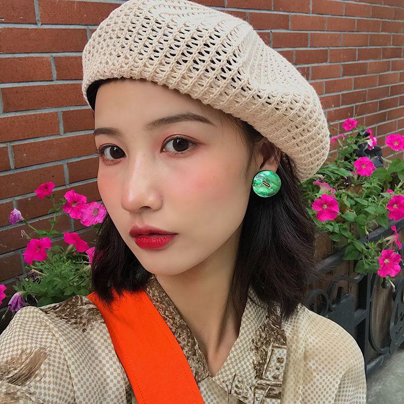 COKK été Beret Femme Chapeaux pour femmes Tricoté Respirant Béret Artiste coréenne Cap Voyage crème solaire vacances Appartement Cap New T200720